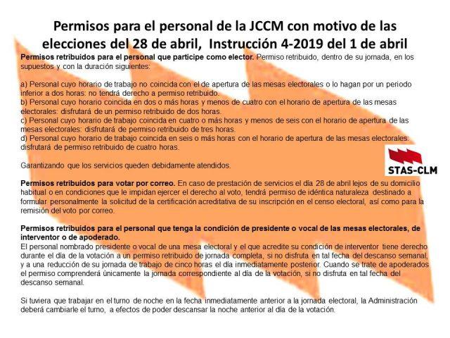 PERMISOS PARA EL PERSONAL DE LA JCCM CON MOTIVO DE LAS ELECCIONES 28 DE ABRIL 2019