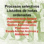 Listados de notas ordenadas, publicados el 29 de noviembre