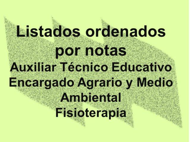 Listados de notas ordenadas por puntuación de ATE, Encargado Agrario y MA y Fisioterapia
