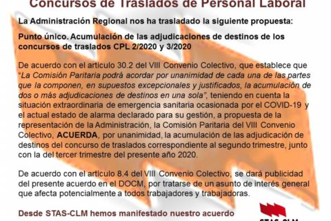 ¡ULTIMA HORA! Acumulación Concursos Personal Laboral JCCM